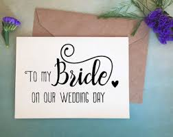 Card From Bride To Groom On Wedding Day Groom To Bride Gift Etsy