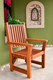 No Cushion Outdoor Furniture - massive wooden dining chair custom made from redwood