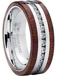 wood inlay wedding band titanium men s wedding band ring with real koa wood