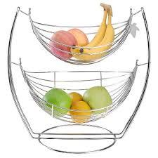 metal fruit basket chrome hammock 2 tier fruit vegetables produce metal