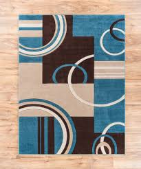 Geometric Area Rug Echo Shapes Circles Blue Brown Modern Geometric Comfy Casual