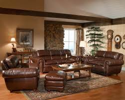 furniture inspiring living room with brown distressed leather