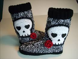 womens slipper boots size 9 skull slipper knee high slippers size 8 9 ready to ship
