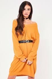shannen mustard v neck oversized jumper dress