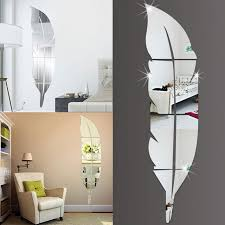 mirror home decor diy modern feather acrylic mirror wall sticker home decor room