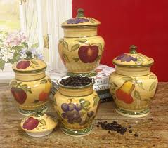 Country Canister Sets For Kitchen Amazon Com European Style Tuscan Fruit Grape Kitchen 4 Pc