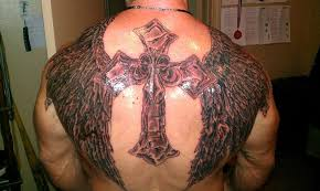 3d crosses with wings tattoos design idea