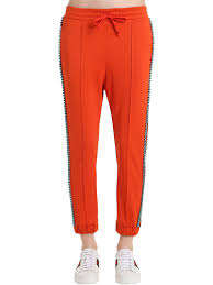nicole miller crystal ls lyst gucci crystal techno jersey track pants in orange