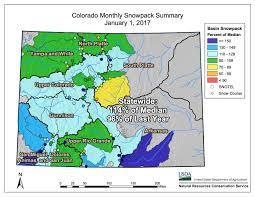 colorado snowpack map southern rockies nature january 2017
