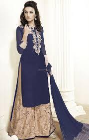 buy designer salwar kameez embroidered blue top plus size