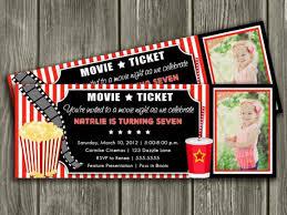movie birthday invitations movie ticket printable birthday