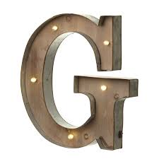marquee distressed lighting wood alphabet letter g illuminated sign