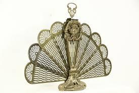 peacock fan peacock fan brass vintage folding fireplace hearth screen harp