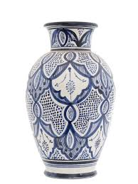 Large Ceramic Vases Safi White U0026 Blue Moroccan Vase Large