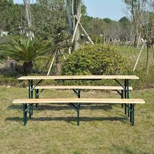 amazon com outsunny 7 u0027 wooden folding picnic table set with
