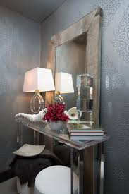 art deco powder room with silver wallpaper susan brunstrum hgtv