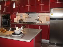 Red Birch Kitchen Cabinets Kitchen Appealing Red Kitchen Cabinet Ideas With White Mosaic