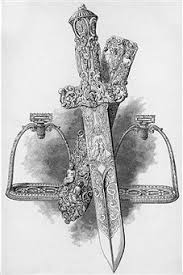 etching of ornamental dagger w and pictures getty images