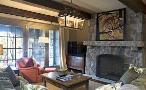 Rumford Fireplace Family Room Rustic With Linen Armchairs And - Chairs for family room