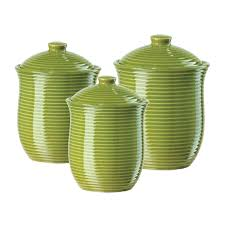 ceramic canisters sets for the kitchen accessories for kitchen decoration using light green stripe