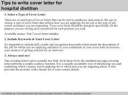 dietitian cover letter hospital dietitian cover letter