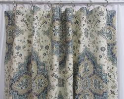 Bohemian Drapes Neutral Window Curtains Botanical Inspired Drapery Panels