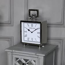afficher l heure sur le bureau grand lustré nickel argent mantille horloge de bureau vintage