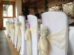 chair covers and sashes wedding chair sashes search baby s breath tucked in each