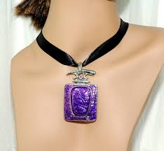 black ribbon necklace images Purple charm ribbon necklace girls necklace teens jewelry JPG
