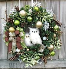 How To Decorate A Christmas Wreath Winter Owl Christmas Wreath Lime Green Gold Owls Creations