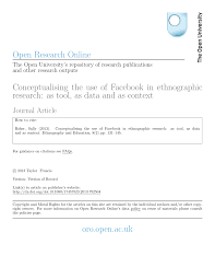 how to write an ethnographic research paper conceptualising the use of facebook in ethnographic research as conceptualising the use of facebook in ethnographic research as tool as data and as context pdf download available