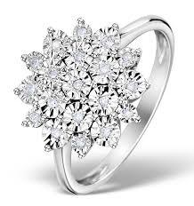 cluster rings diamond 0 10ct 9k white gold large cluster ring e5888 item e5888
