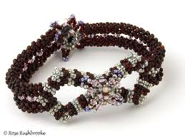 weave beaded bracelet images Beadwork bracelet in a ruby and silver colorway seed beads and jpg