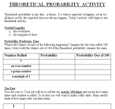 theoretical and experimental probability lesson plan 7th grade
