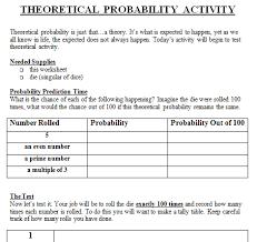 Experimental Probability Worksheet Theoretical And Experimental Probability Lesson Plan 7th Grade