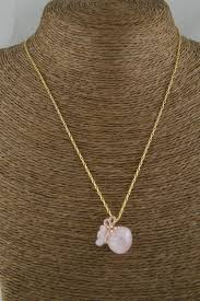 rose quartz rose necklace images Gold color chains natural rose quartz stone money bag pendant jpg