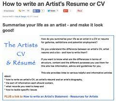 Concept Artist Resume Making A Mark How To Write An Artist U0027s Cv