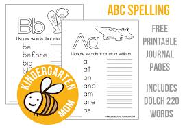kindergarten spelling notebook