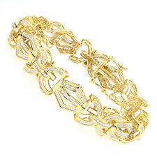 solid bracelet images Modern solid gold mens baguette diamonds bracelet 7 95ct jpg