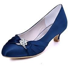 wedding shoes navy blue elegantpark women closed toe comfort heel rhinestone