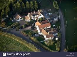 aerial view north east of country houses conifer trees new road