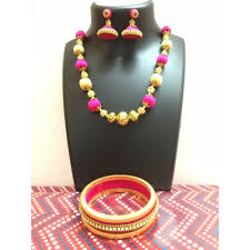 pink coloured beads necklace images Gold and pink colour stone ball silk thread jewellery set JPG