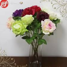 Silk Flowers Wholesale Sfl1116 Home Ornament Cheap Artificial Red Velve Rose Fake Silk