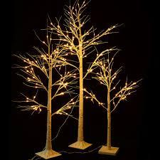 white birch snow tree w led lights seasonal