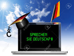 si e banque de modern laptop with black screen graduation hat and phrase sprechen