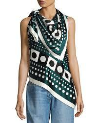 scarf blouse monse dot print tie shoulder silk scarf blouse green pattern