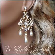 gold chandelier earrings gold wedding jewelry pearl and rhinestone bridal chandelier earrings