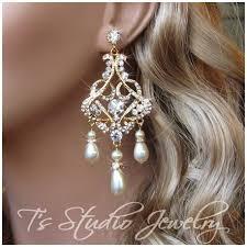 rhinestone chandelier earrings gold wedding jewelry pearl and rhinestone bridal chandelier earrings
