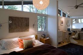 bedroom master mid century design with white window also modern