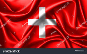 Flag Red With White Cross 3d Rendering Flag Switzerland Consists Red Stock Illustration